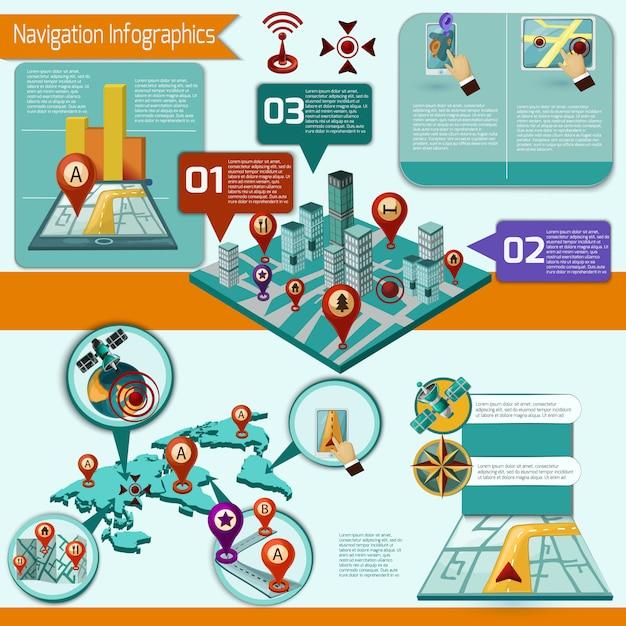 Navigatie infographic set Gratis Vector
