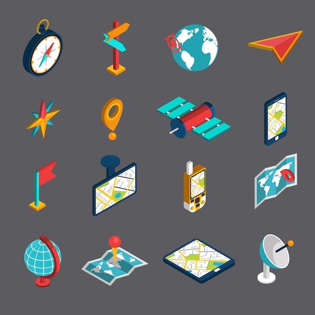 Navigatie isometrische icon set Gratis Vector