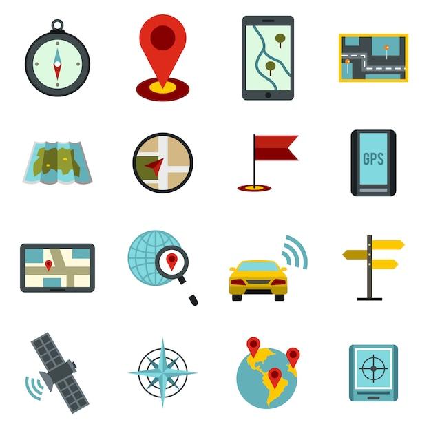 Navigatie pictogrammen instellen, platte ctyle Premium Vector