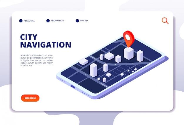 Navigatiekaart isometrische concept. gps-locatiesysteem. telefoon tracker met wereldwijde positionering. bestemmingspagina Premium Vector