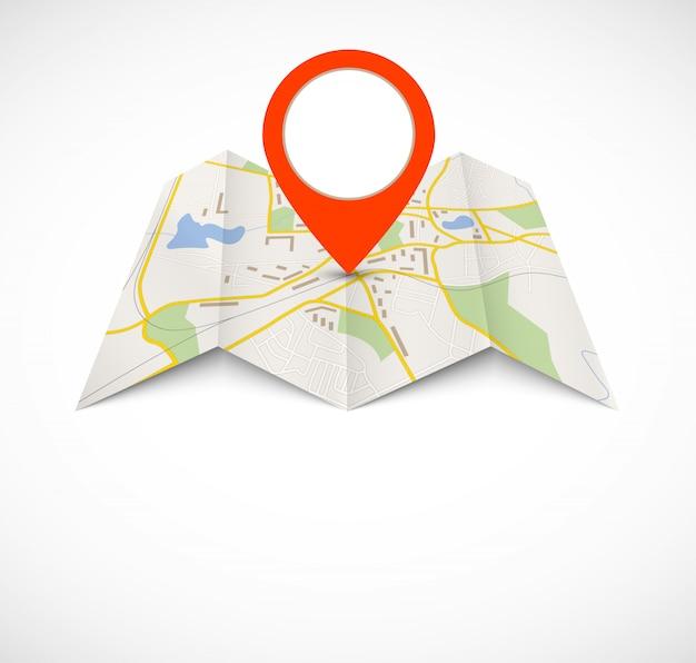Navigatiekaart met rode pin Premium Vector