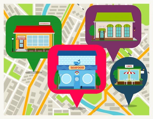Navigatiekaart met winkels pinnen mobiele app. van het overzeese voedselrestaurant, koffie en supermarkt de voorgevels vectorillustratie Premium Vector