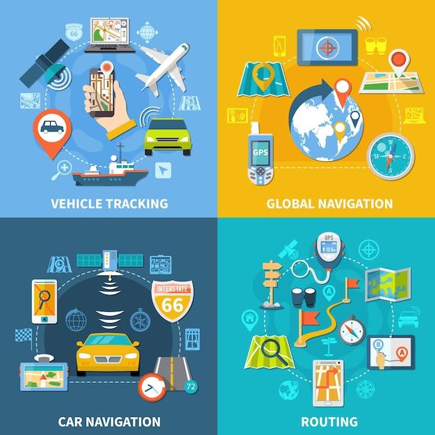 Navigatieontwerpconcept met vier composities vlakke pictogrammen en pictogrammen met uithangborden, gps-satellieten en gadgets Gratis Vector