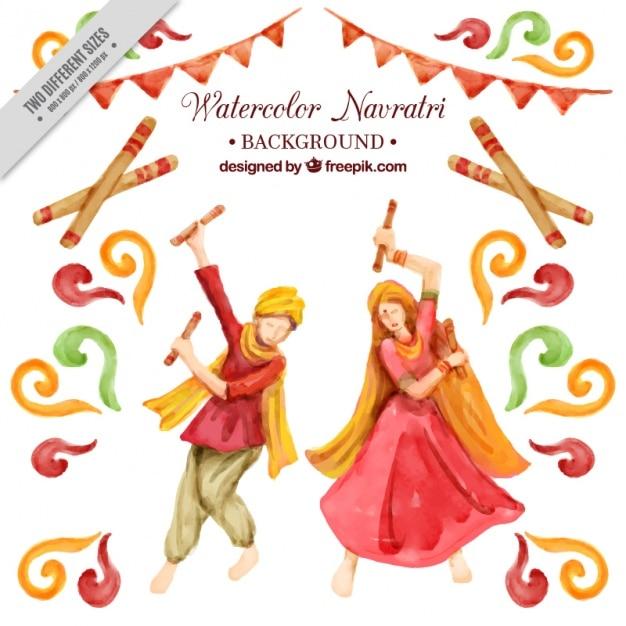 Navratri aquarel achtergrond van de traditionele dans Gratis Vector