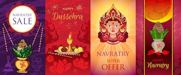 Navratri-bannerreeks. cartoon illustratie van navratri vector banner set Premium Vector