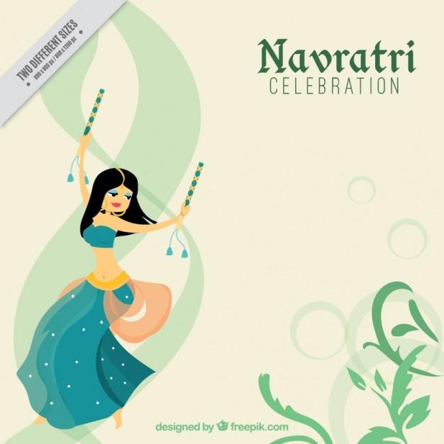 Navratri viering achtergrond met dansend meisje Gratis Vector
