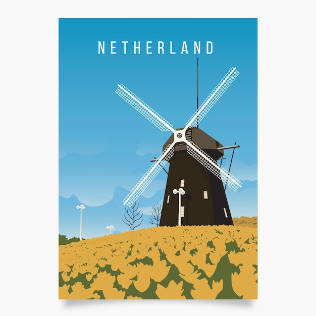 Nederland promotionele poster sjabloon Gratis Vector