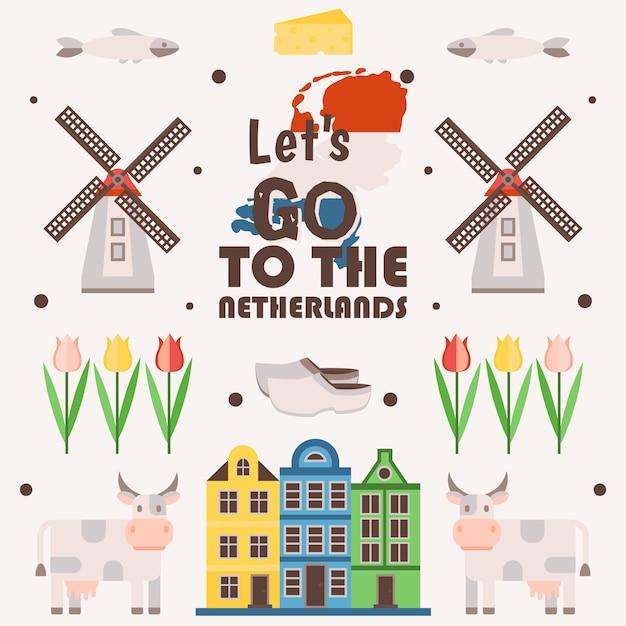 Nederland reizen poster, illustratie. symbolen van de belangrijkste nederlandse toeristische attracties, eenvoudige pictogrammen in vlakke stijl. traditionele windmolens, tulpen, oude huizen en koeien Premium Vector