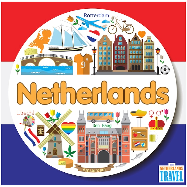 Nederland ronde achtergrond gekleurde vlakke pictogrammen en symbolen instellen Premium Vector