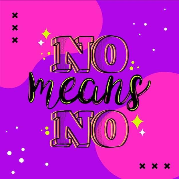 Nee betekent geen belettering Gratis Vector
