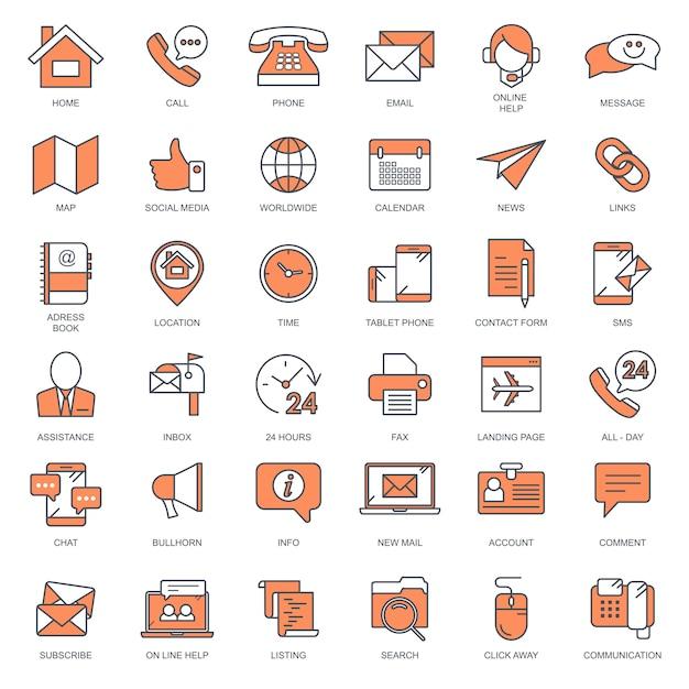 Neem contact met ons op en de pictogrammenset voor klantenondersteuning Premium Vector