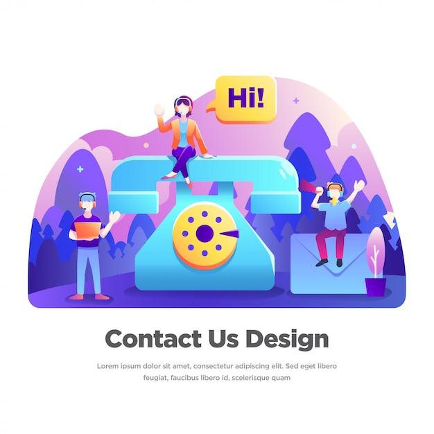 Neem contact met ons op illustratie Premium Vector