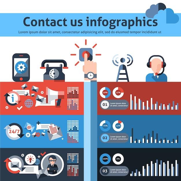 Neem contact met ons op infographics Gratis Vector