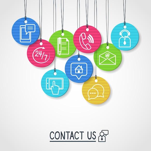 Neem contact met ons op met kartonnen labels en tags Premium Vector