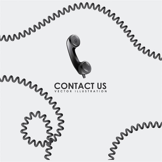 Neem contact met ons op ontwerp Premium Vector