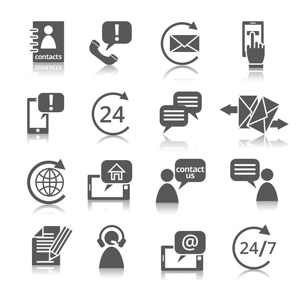 Neem contact met ons op service-pictogrammen Premium Vector