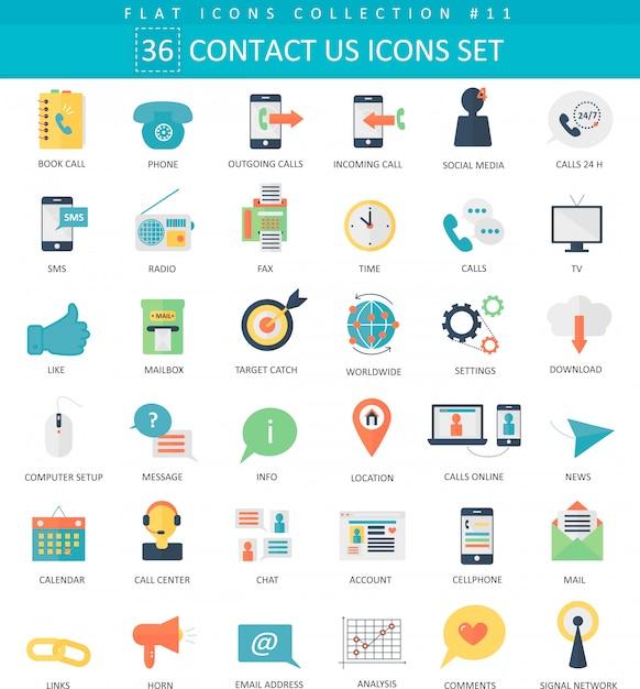 Neem contact met ons op, support center kleur flat icon set Premium Vector