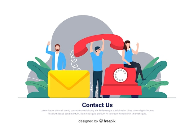 Neem contact met ons op voor de bestemmingspagina Gratis Vector