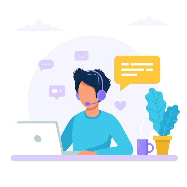 Neem contact op. man met hoofdtelefoon en microfoon met computer. Premium Vector