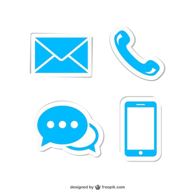 Neem contact op met blauwe pictogrammen Gratis Vector