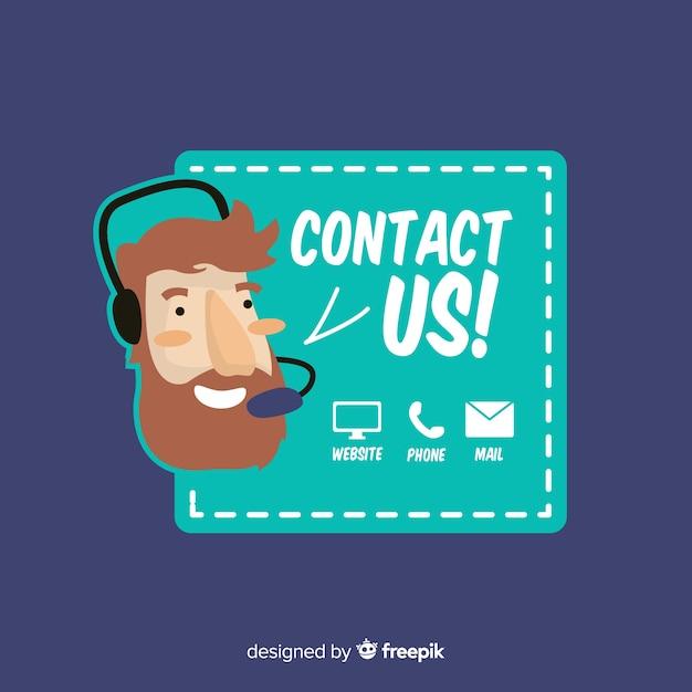 Neem contact op met ons achtergrondontwerp Gratis Vector