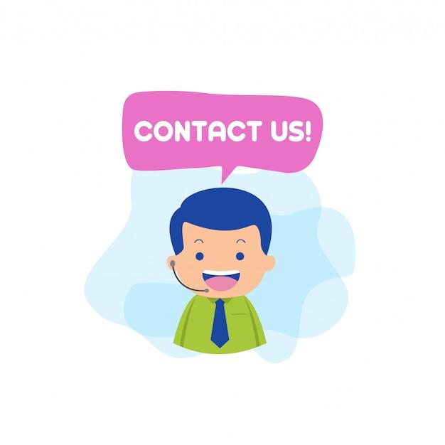 Neem contact op met ons karakter vector Premium Vector