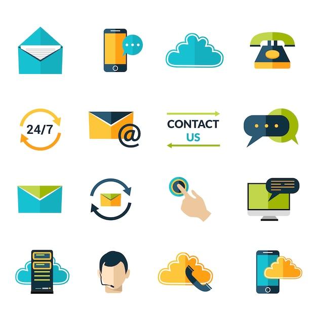 Neem contact op met ons pictogrammen instellen Gratis Vector