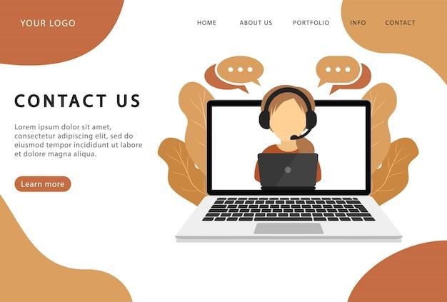 Neem contact op. ondersteunende dienst. bestemmingspagina. moderne webpagina's voor websites. Premium Vector