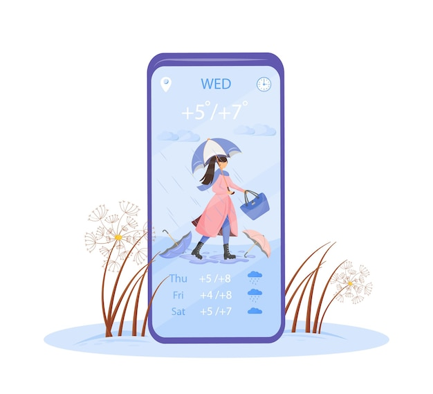 Neerslagvoorspelling cartoon smartphone app-scherm. plan een outfit voor regen en storm. display voor mobiele telefoon met plat karakterontwerp. telefooninterface voor herfstweertoepassing Premium Vector