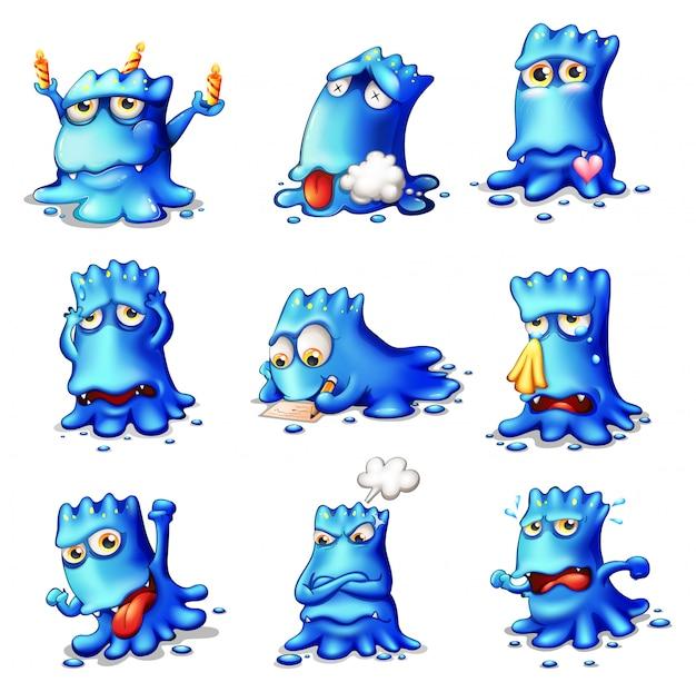 Negen blauwe monsters Gratis Vector