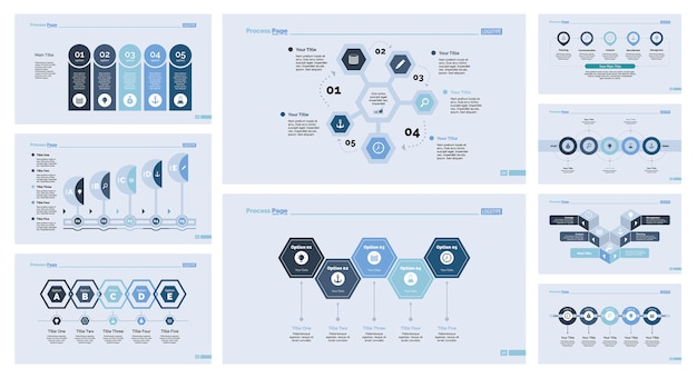 Negen development slide template set Gratis Vector