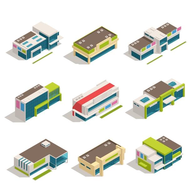 Negen geïsoleerde van het winkelcentrum isometrische gebouwen van het opslagwandelgalerij vastgestelde hoogste de menings vectorillustratie Gratis Vector
