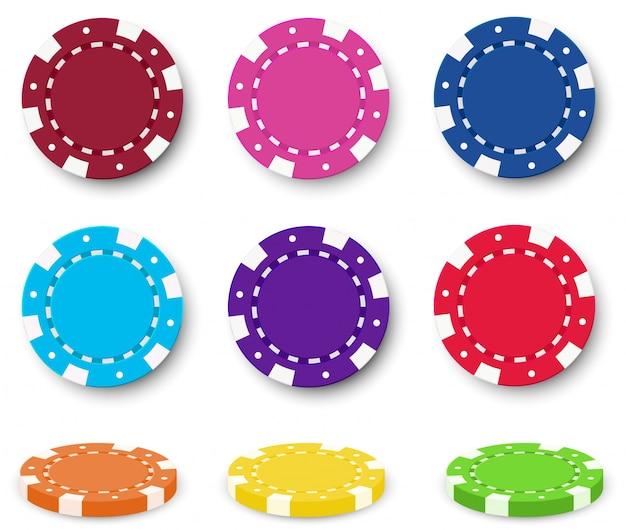 Negen kleurrijke poker chips Gratis Vector