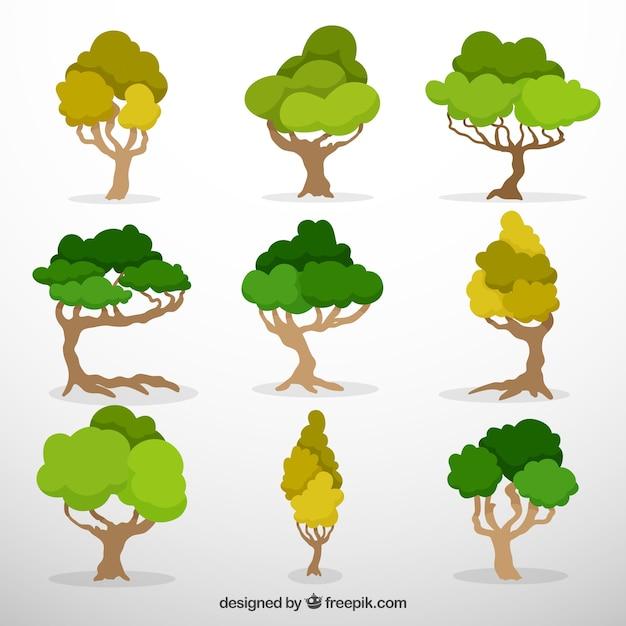 Negen lommerrijke bomen Gratis Vector
