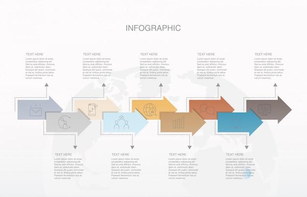 Negen modern pijlelement infographic voor bedrijfsconcept. Premium Vector