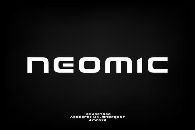 Neomic, een abstract futuristisch alfabetlettertype met technologiethema. modern minimalistisch typografieontwerp Premium Vector
