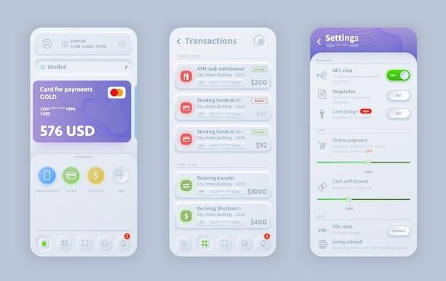 Neomorfische interface voor online bankieren Premium Vector