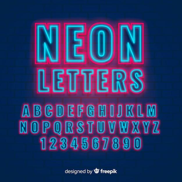 Neon alfabet Gratis Vector