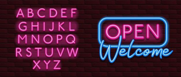 Neon banner alfabet lettertype bakstenen muur open welkom Premium Vector
