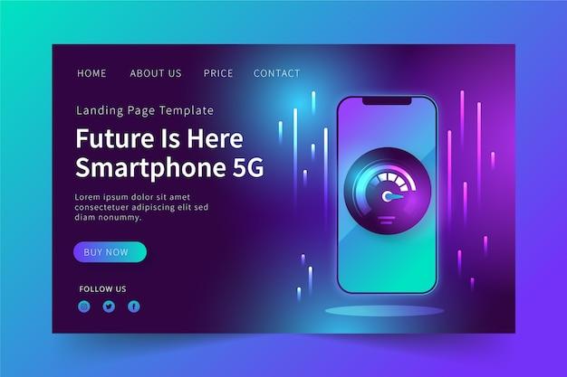 Neon-bestemmingspagina met mobiel ontwerp Gratis Vector