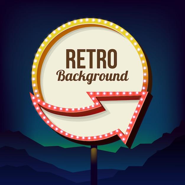 Neon bord met verlichting. retro billboard in de stad 's nachts. schone plaats met een 3d-kader. volumetrisch vintage frame. langs de weg ondertekenen. weg geel bord uit de jaren 50. Premium Vector