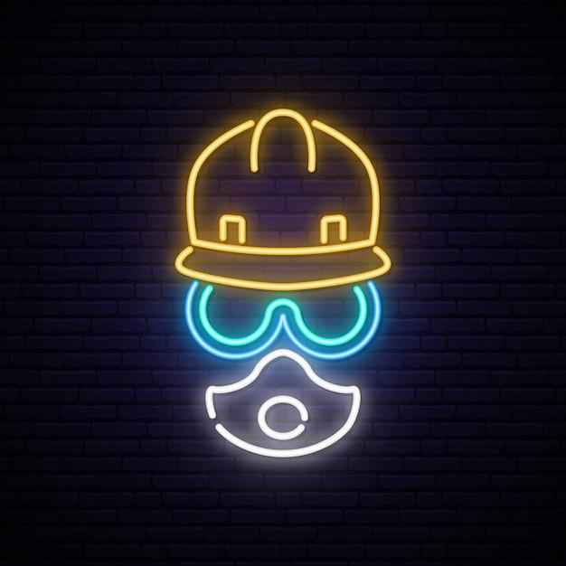 Neon bouwer teken. Premium Vector