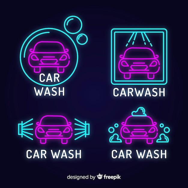 Neon car wash tekenpakket Gratis Vector