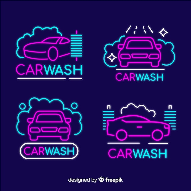 Neon car wash tekenpakket Gratis Vector
