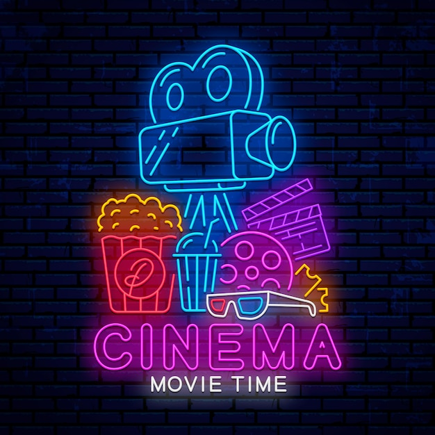 Neon cinema-elementen Premium Vector