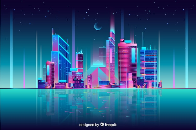 Neon cityscape achtergrond Gratis Vector