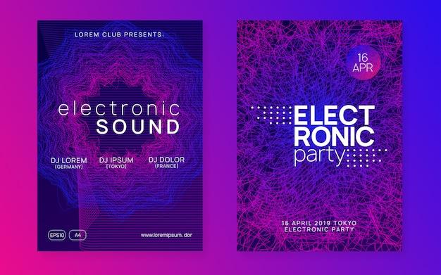 Neon club flyer. electro dance muziek poster Premium Vector