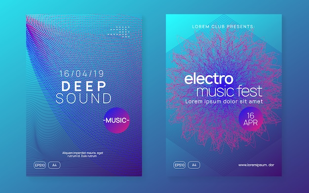 Neon club flyer. electro dansmuziek. trance party dj. electroni Premium Vector