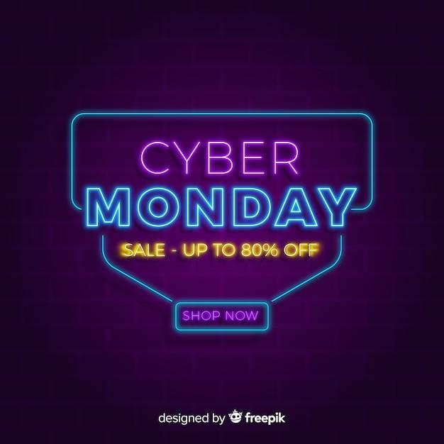 Neon cyber maandag achtergrond Gratis Vector