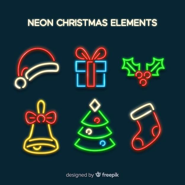 Neon eenvoudige kerst elementen Gratis Vector